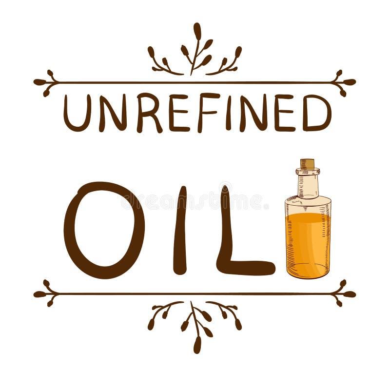 Sin Refinar Del Aceite Del ` Y Botella Handdrawn Con Aceite Elemento ...