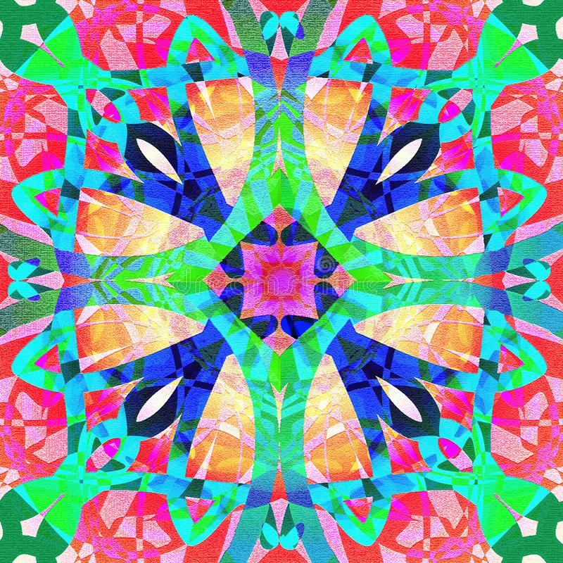 Tiffany cross mandala in bright colors, texture in all the image, abstract background, green, blue, red, turquoise, yellow, vector illustration