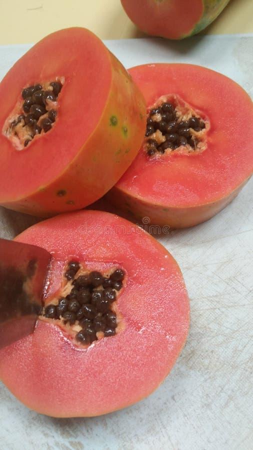 Sinaasappel als Papajavruchten royalty-vrije stock afbeeldingen