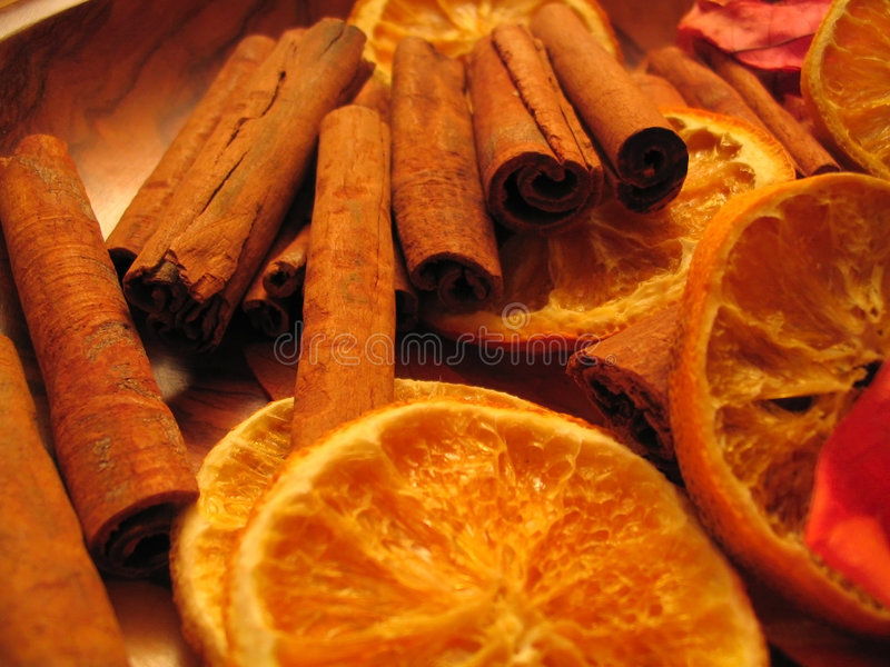 Sinaasappel & Kaneel stock foto