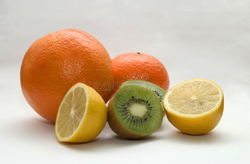 Sinaasappel, citroen, kiwi royalty-vrije stock fotografie