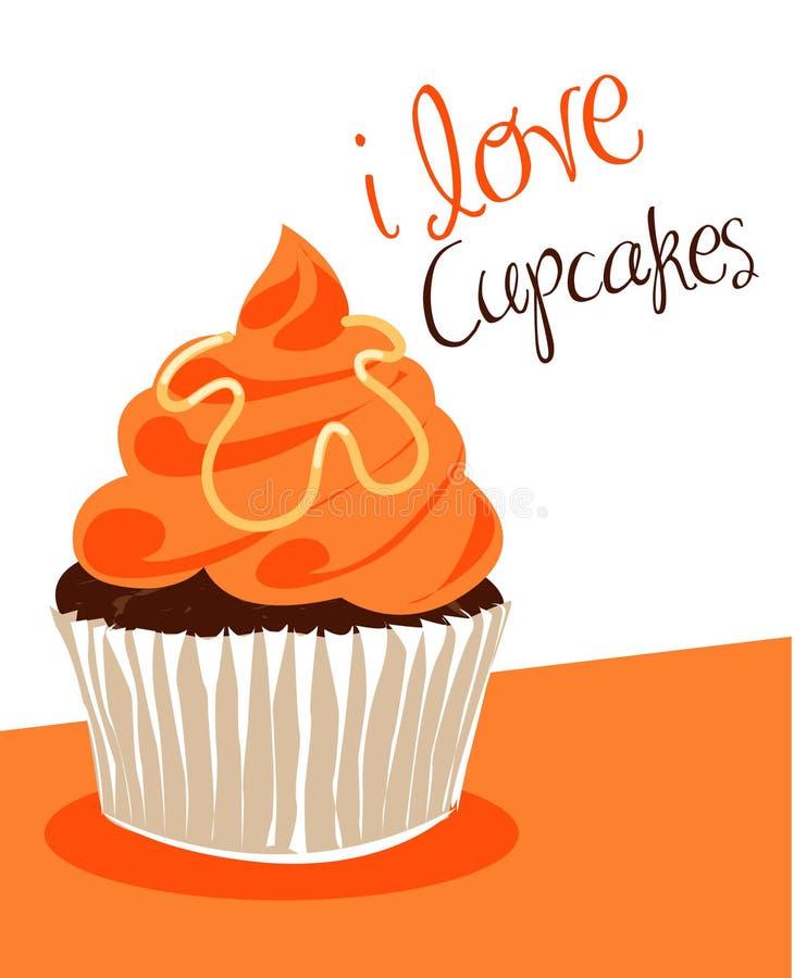 Sinaasappel cupcake stock illustratie