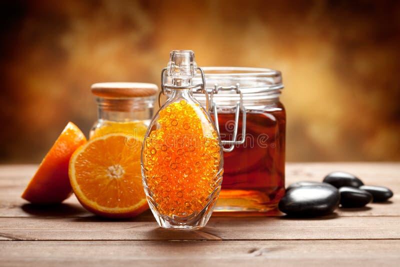 Sinaasappel en honing - Natural Spa royalty-vrije stock fotografie