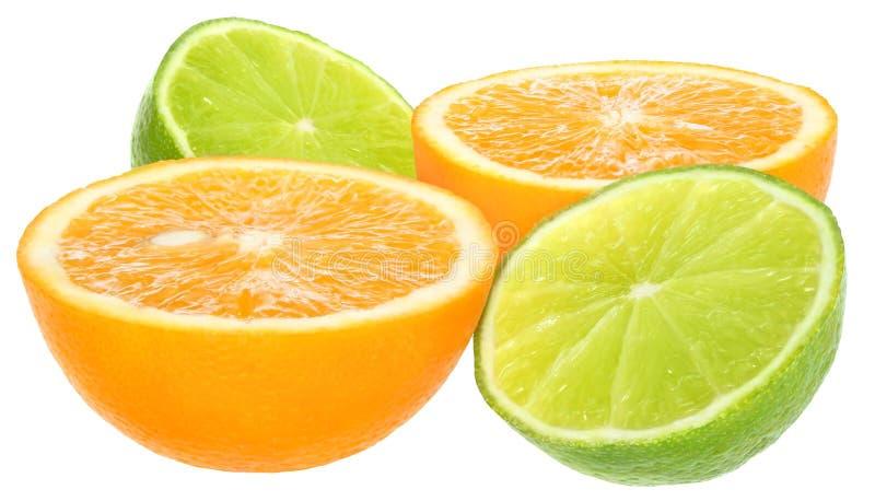 Sinaasappel en kalk. stock fotografie
