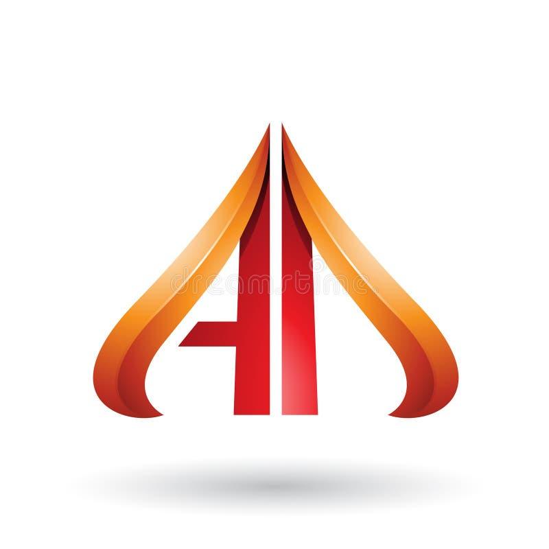 Sinaasappel en Rood pijl-als Brieven A en D in reliëf wordt op een Witte Achtergrond wordt geïsoleerd gemaakt die vector illustratie