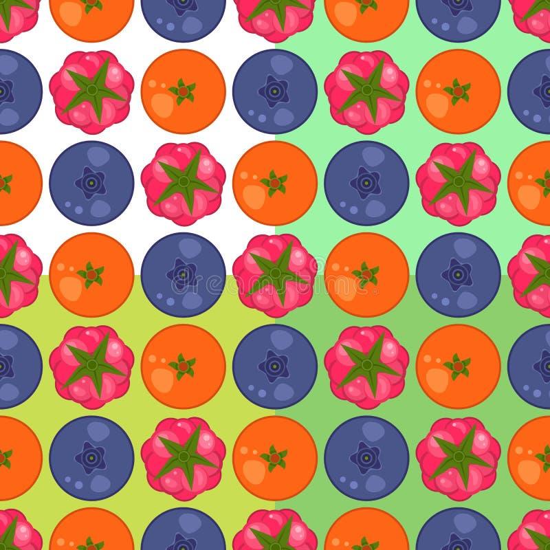 Sinaasappel, frambozen en braambessen naadloos patroon stock afbeeldingen