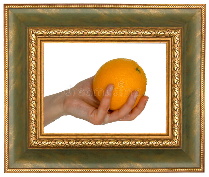 Sinaasappel in frame royalty-vrije stock afbeelding