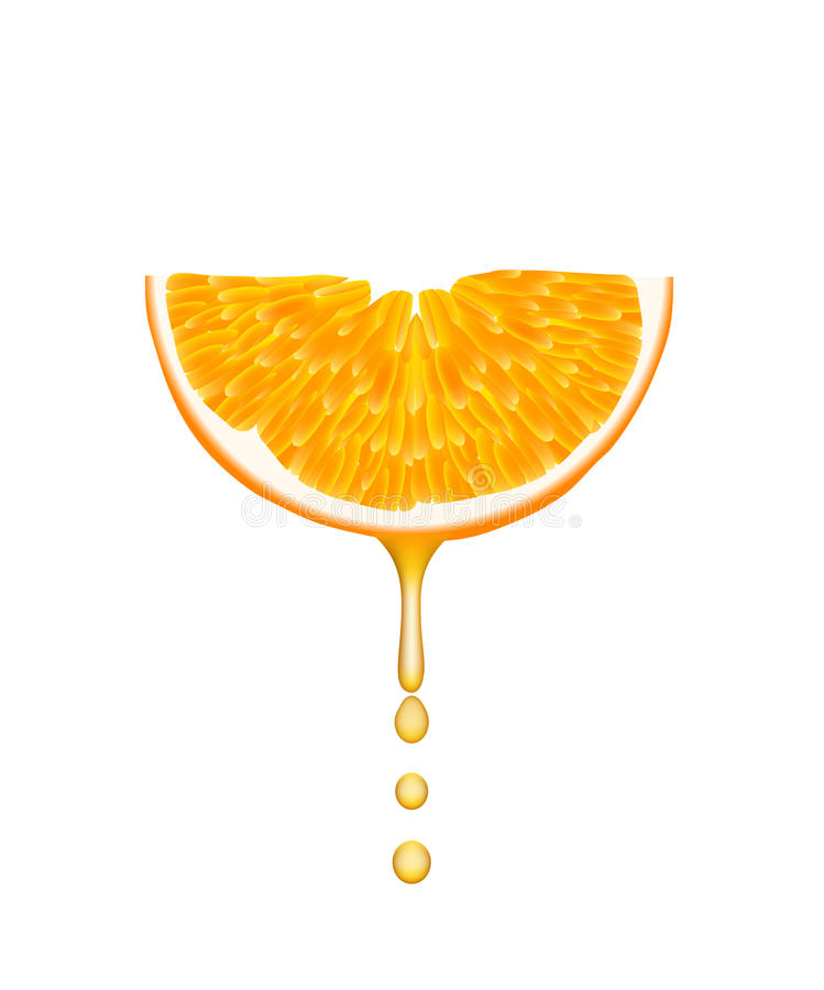Sinaasappel met dalende sapdalingen. stock afbeelding