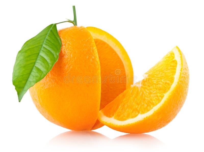 Sinaasappel met een plak stock foto
