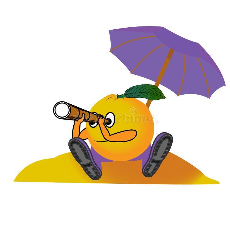 Sinaasappel op het strand royalty-vrije illustratie
