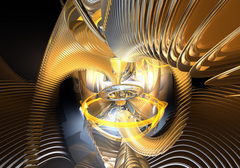 Sinaasappel rings&wires in ruimte (samenvatting) stock fotografie