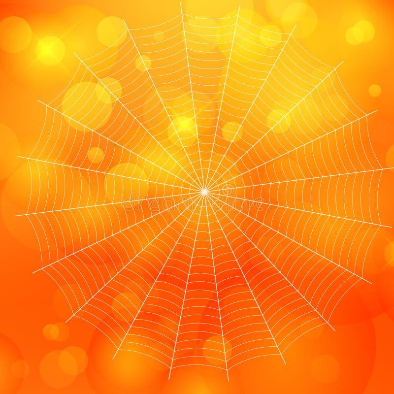 Sinaasappel vage bokeh Halloween-achtergrond met spinnenweb, royalty-vrije illustratie