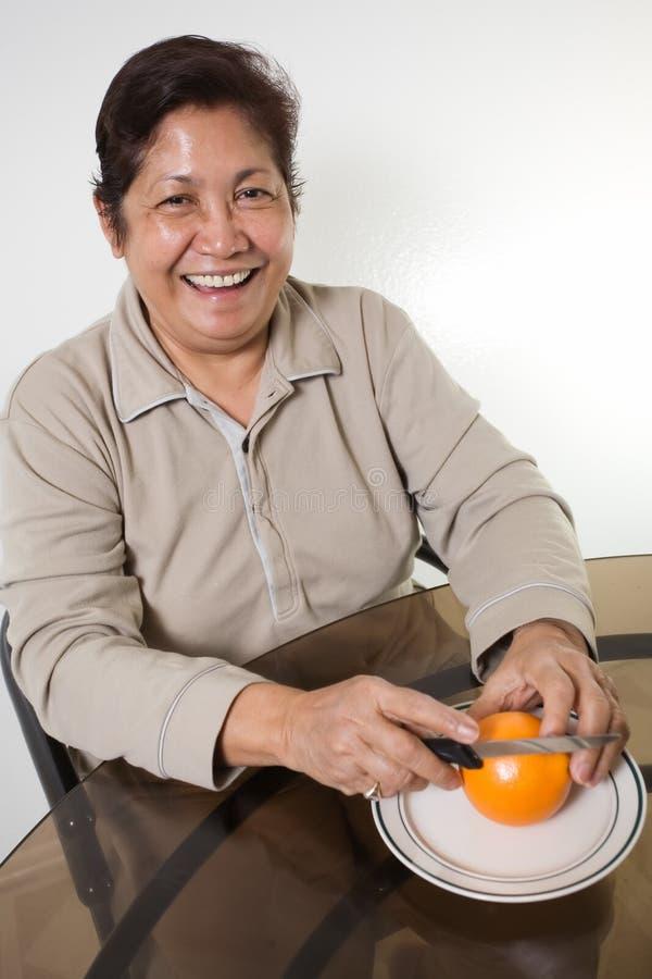 Sinaasappel voor ontbijt royalty-vrije stock foto