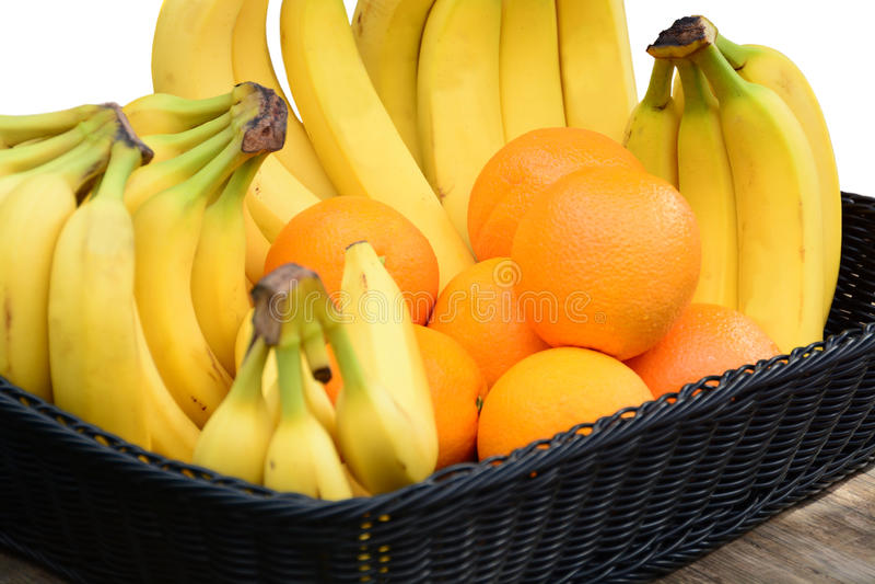 Sinaasappelen en Bananen stock foto