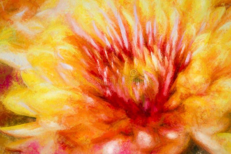 Sinaasappelen en rood Impressionistic bloem stock afbeelding