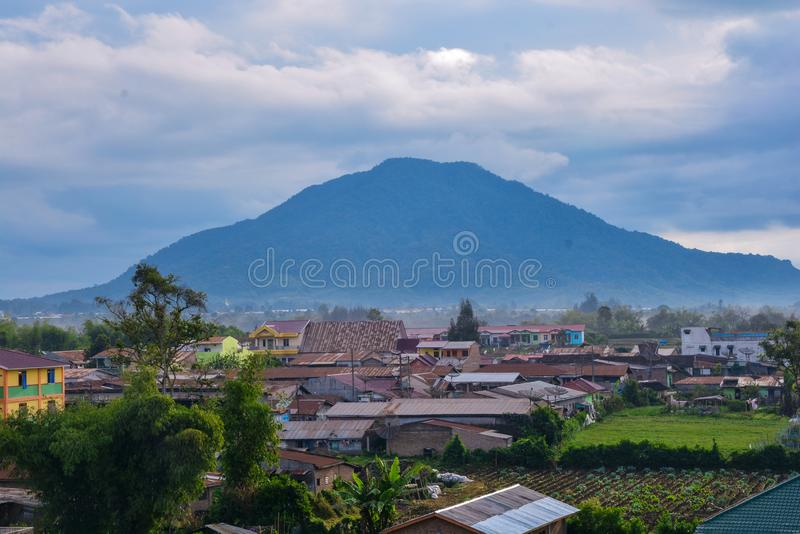 Sinabung Sibayak active volcano mountain in Berastagi, Medan, North Sumatra, Indonesia stock image