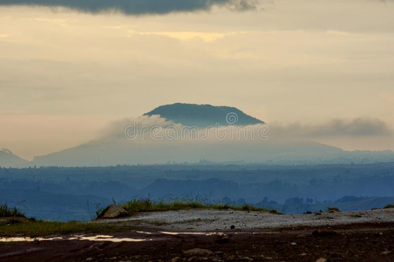 Sinabung Sibayak active volcano mountain in Berastagi, Medan, North Sumatra, Indonesia royalty free stock photography