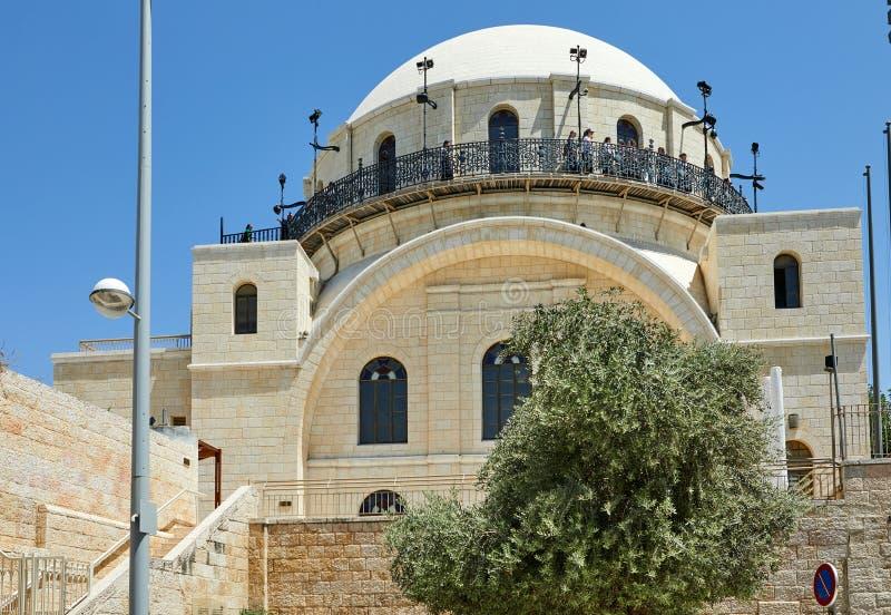 A sinagoga de Ramban ? a sinagoga de funcionamento a mais velha na cidade velha Jerusalem, Israel Seu nome é escrito na parede foto de stock royalty free