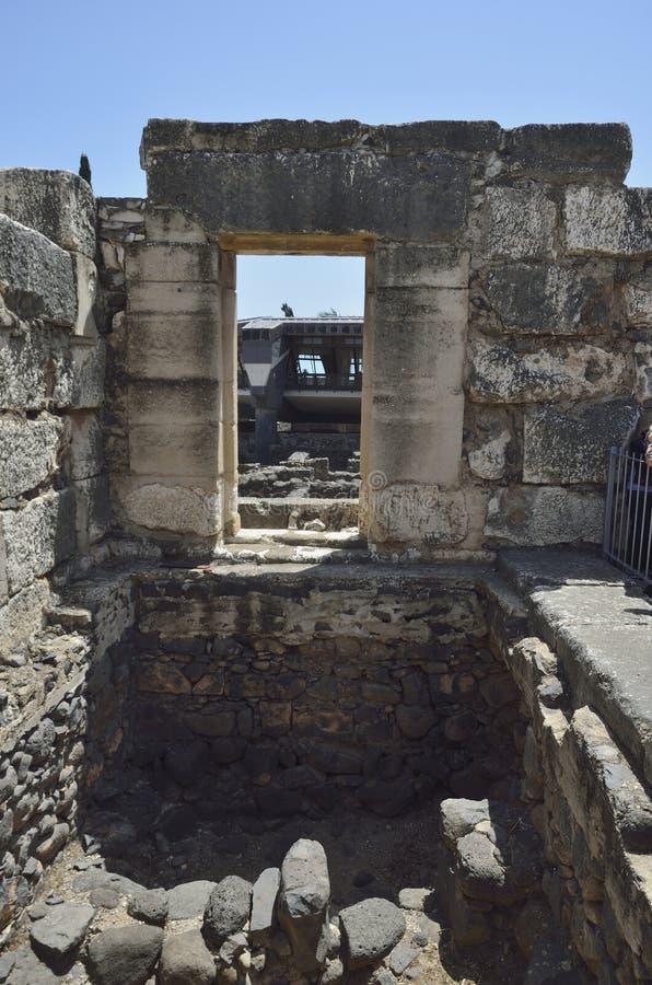 Sinagoga del blanco de Capernaum fotografía de archivo libre de regalías