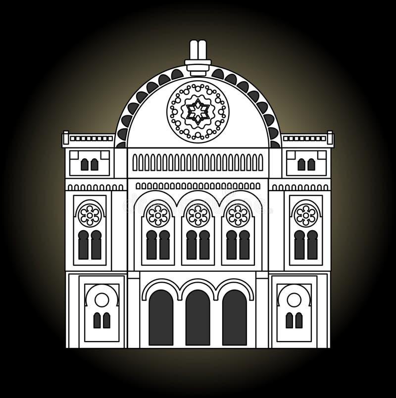Sinagoga, disegno in bianco e nero Facciata della sinagoga nella vista frontale illustrazione vettoriale
