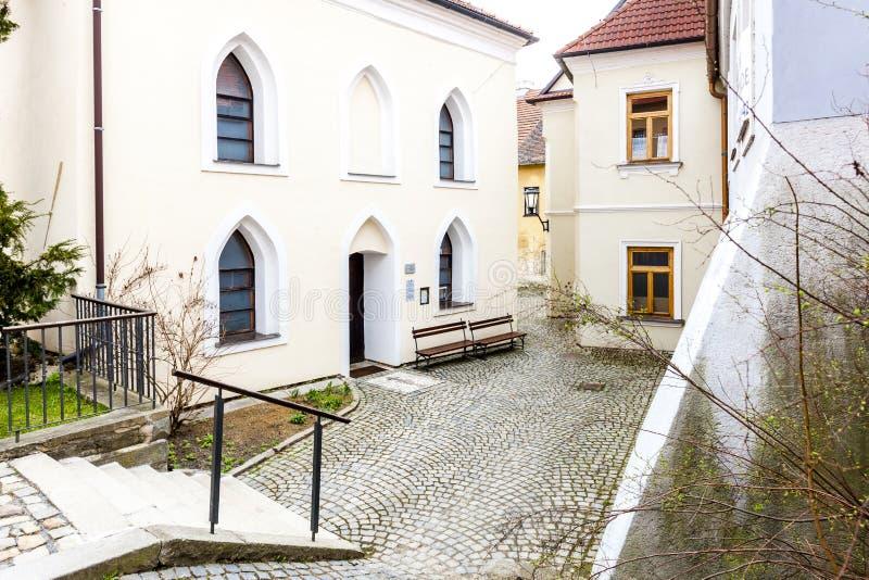Sinagoga frontale, quartiere ebraico, Trebic, Repubblica ceca fotografie stock libere da diritti