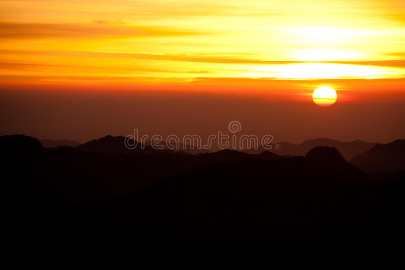 Sinai desert with sand and sun rise in december with mountains a royalty free stock image