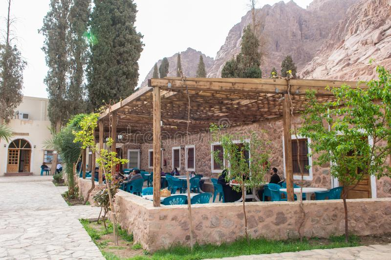 Sinai / Egypt - 03/25/2016: Cafe on the territory of the monastery of St. Catherine at the foot of Mount Sinai stock images