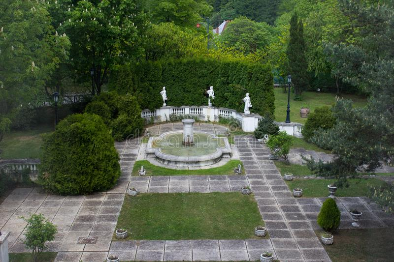 Sinaia Casino garden - Romania stock photos
