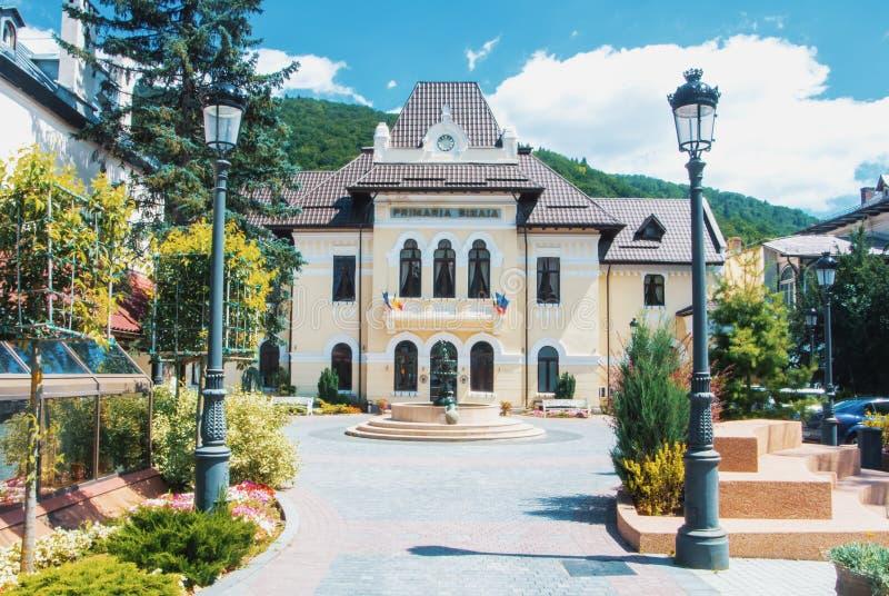 SINAIA, ROMÊNIA - 30 DE JULHO DE 2017: Uma vista a bonito decorado imagem de stock