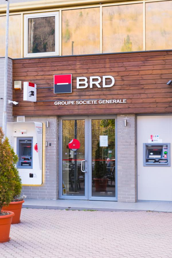 Sinaia, Romania - March 09, 2019: `BRD` - Group Societe Generale - romanian bank branch entrance and ATM situated in Sinaia,  Prah royalty free stock image