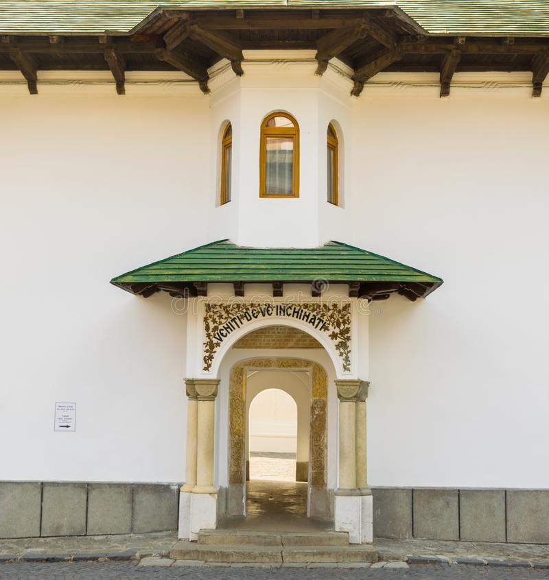 Sinaia, Romania - March 09, 2019: Entrance to old Church at Sinaia Monastery site located in Sinaia, Prahova, Romania stock image