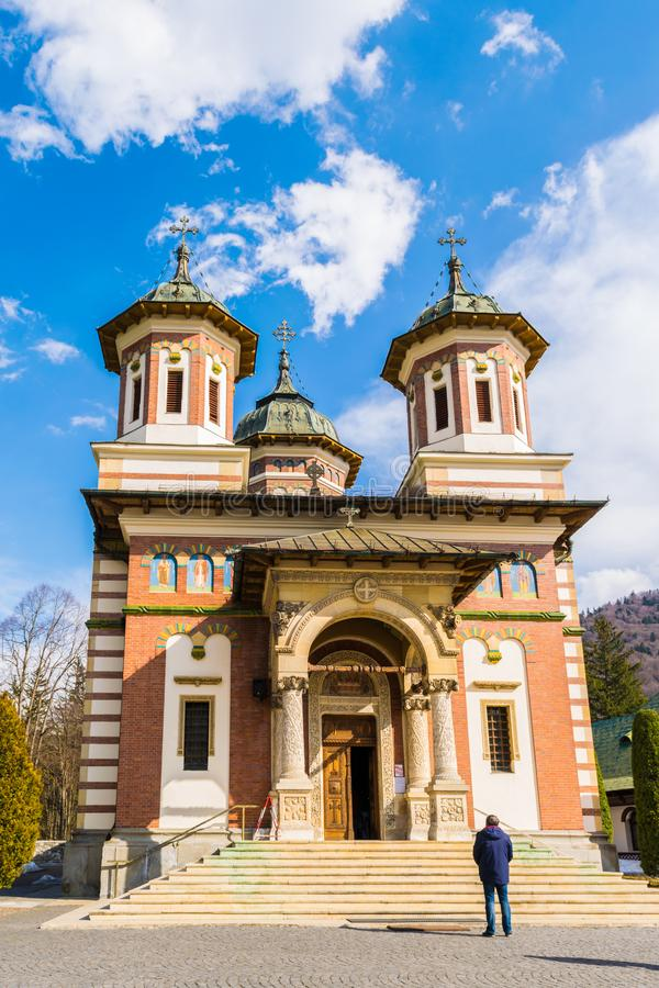 Sinaia, Romania - March 09, 2019: Front view of Sinaia Monastery located in Sinaia, Prahova county, Romania stock photos