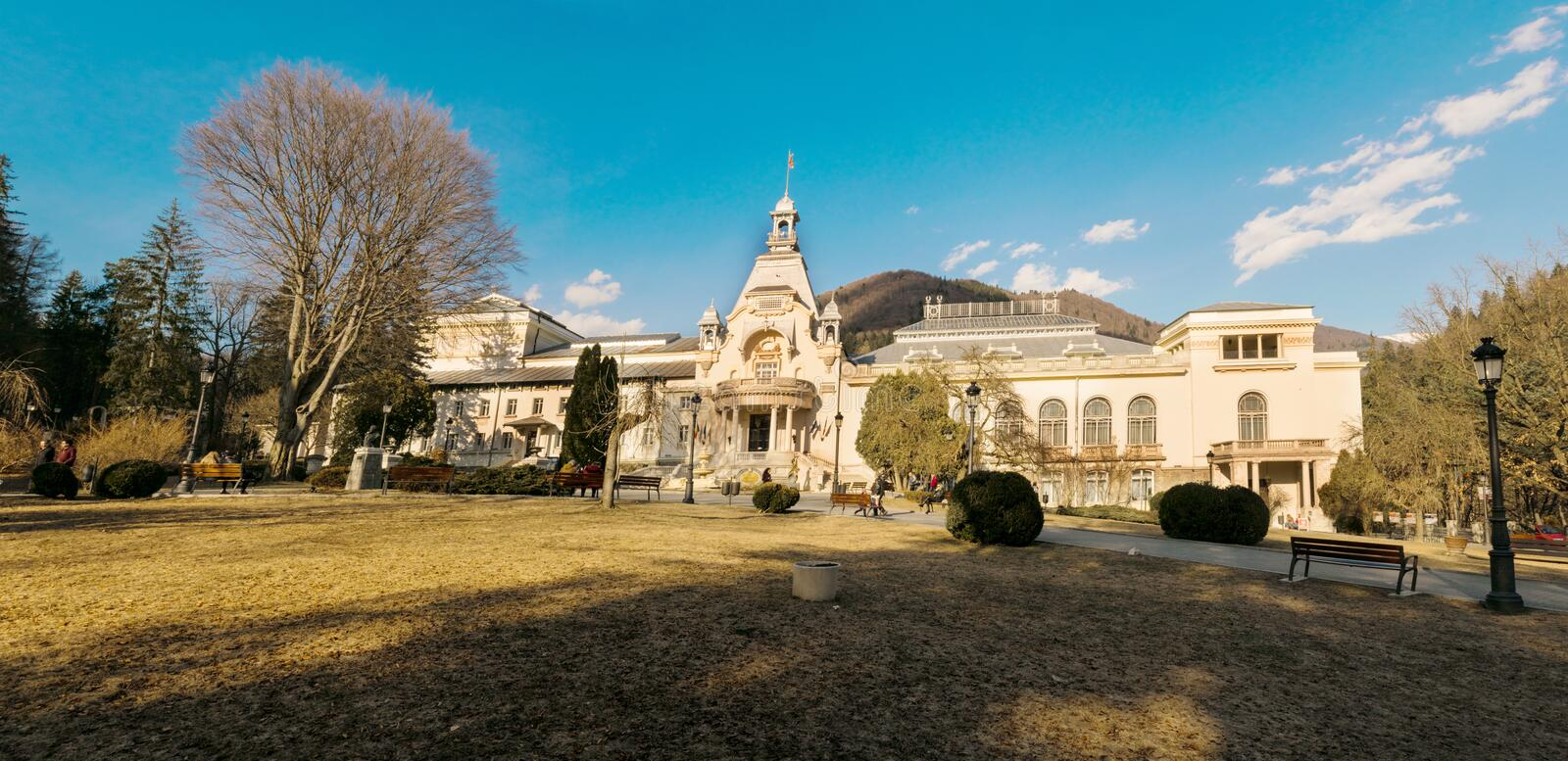 Sinaia, Romania - March 09, 2019: View of Casino Sinaia in Prahova county, Romania royalty free stock image