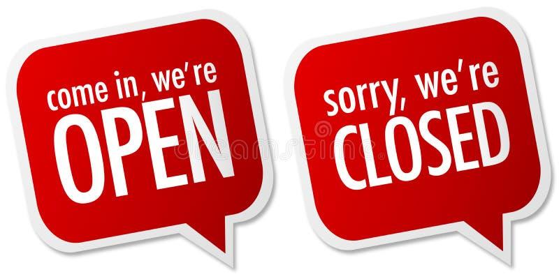 Sinais abertos e fechados da loja ilustração royalty free