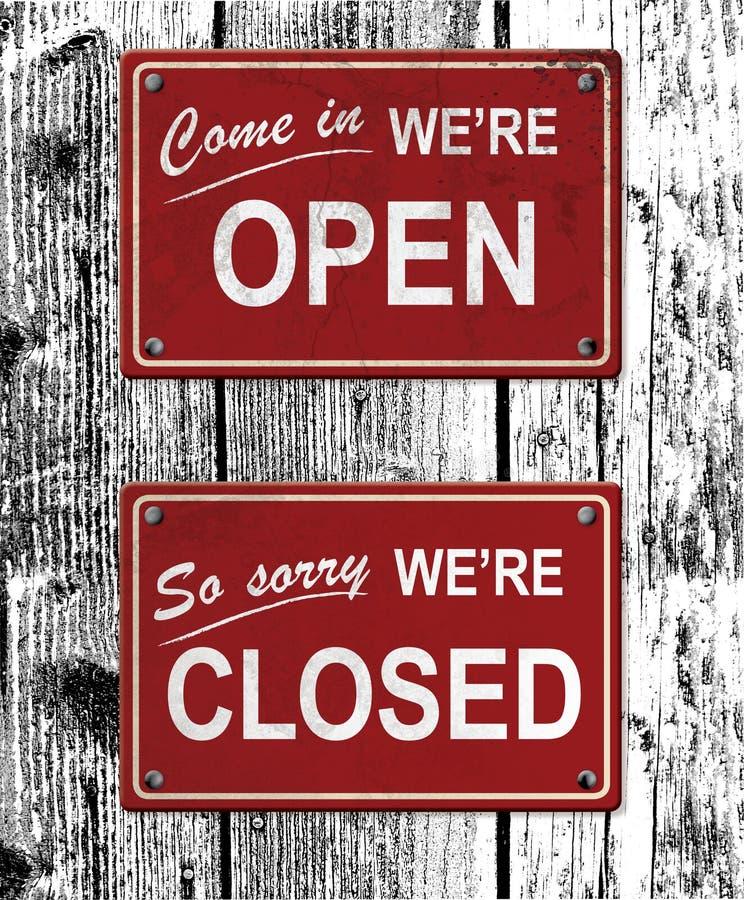 Sinais abertos e fechados do metal ilustração royalty free