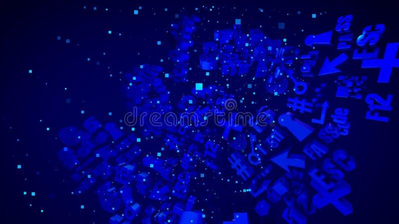 Sinais azuis abstratos maravilhosos do PC 3D ilustração do vetor