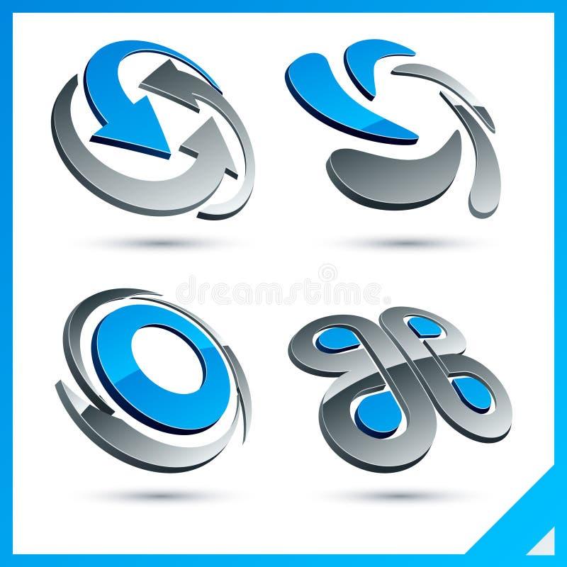 Sinais azuis da companhia 3d. ilustração royalty free
