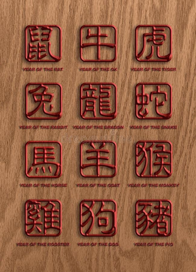 12 sinais chineses da madeira dos animais do zodíaco ilustração royalty free