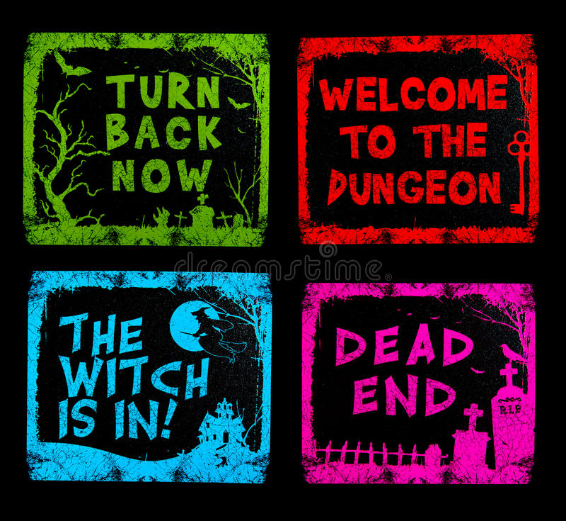 Sinais coloridos de Halloween fotografia de stock