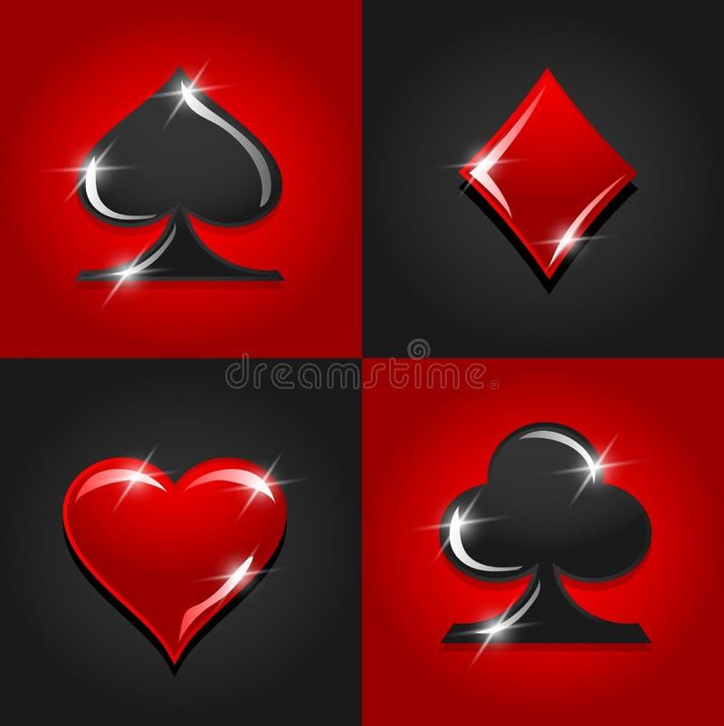 Sinais coloridos do casino do vetor gambling ilustração do vetor
