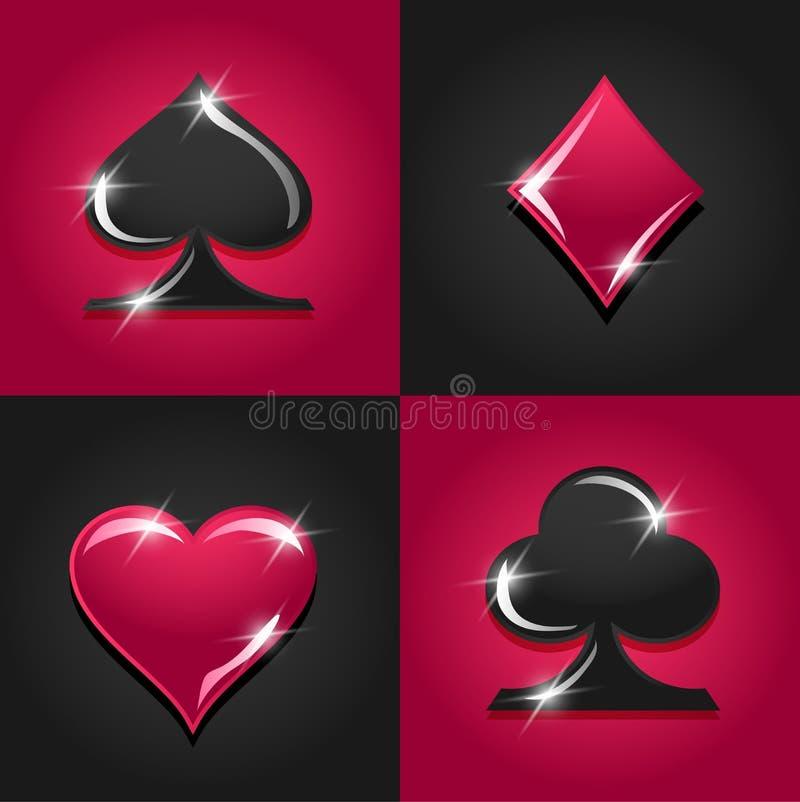 Sinais coloridos do casino do vetor gambling ilustração stock