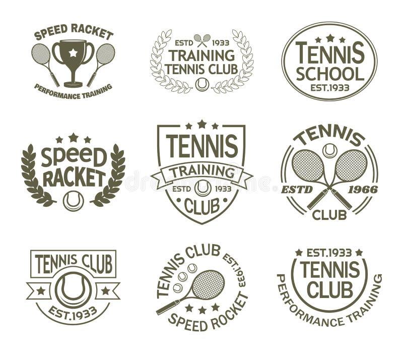 Sinais com raquete e bola para o clube de esporte do tênis ilustração stock