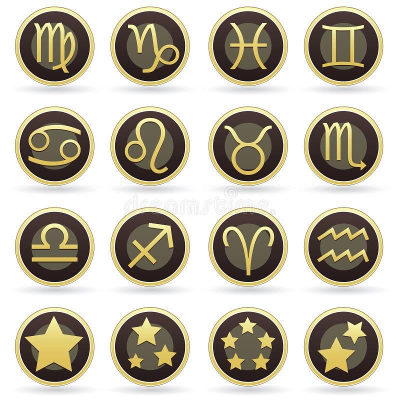 Sinais da astrologia do zodíaco no jogo da tecla do vetor ilustração royalty free