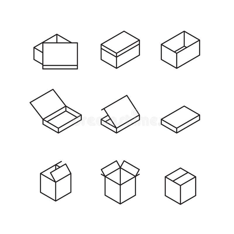 Sinais da caixa Linha grupo do ícone Ilustração do vetor ilustração royalty free
