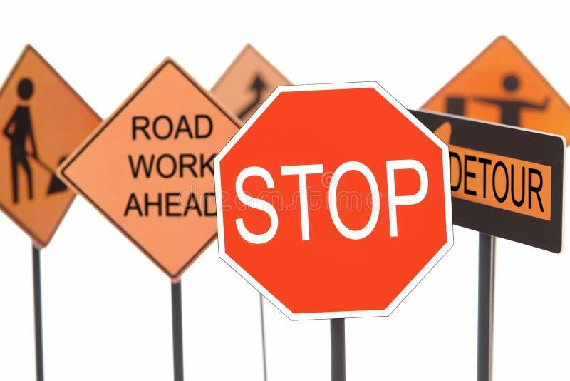 Sinais da construção de estradas imagem de stock royalty free