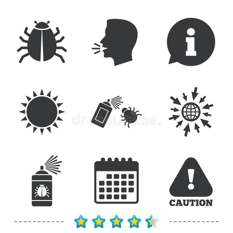 Sinais da desinfecção do erro Ícone da atenção do cuidado ilustração stock