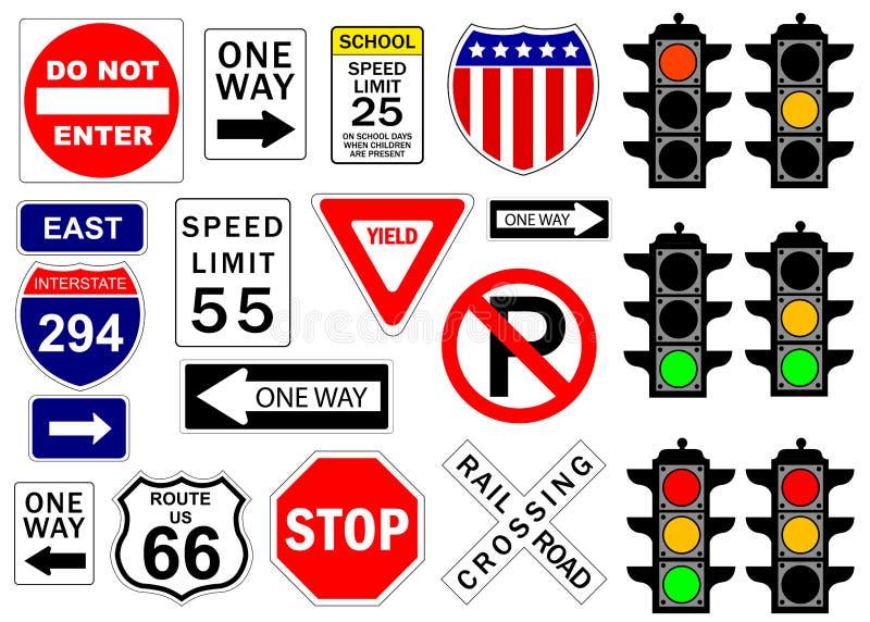 Sinais da estrada e da estrada ilustração do vetor