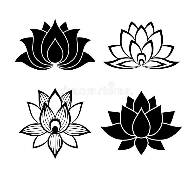 Sinais da flor de Lotus ajustados ilustração stock