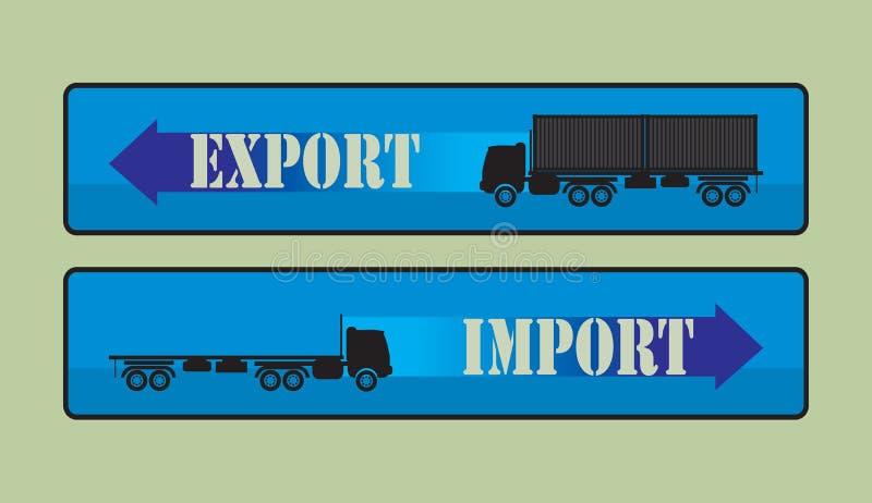 Sinais da importação da exportação, símbolos ilustração stock
