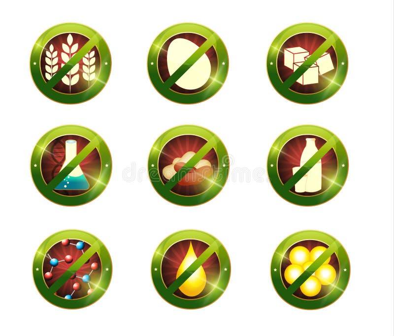 Sinais da intolerância do alimento ilustração stock